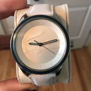 Women's Lacoste white leather band watch
